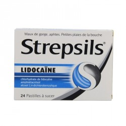 Strepsils lidocaine gorge aphtes 24 pastilles